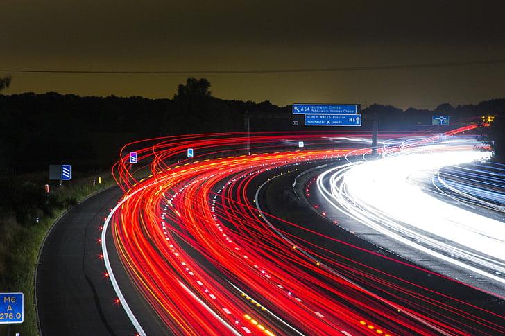 трафік, шосе, Ліхтарі, ніч, дорога, тривалого впливу, світло