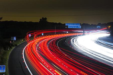 trànsit, l'autopista, llums, nit, carretera, exposició prolongada, llum