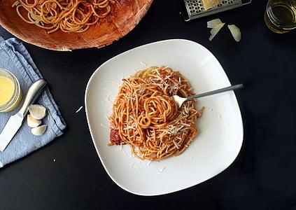 pasta, spagetid, toidu, Itaalia, tomat, kaste, köök