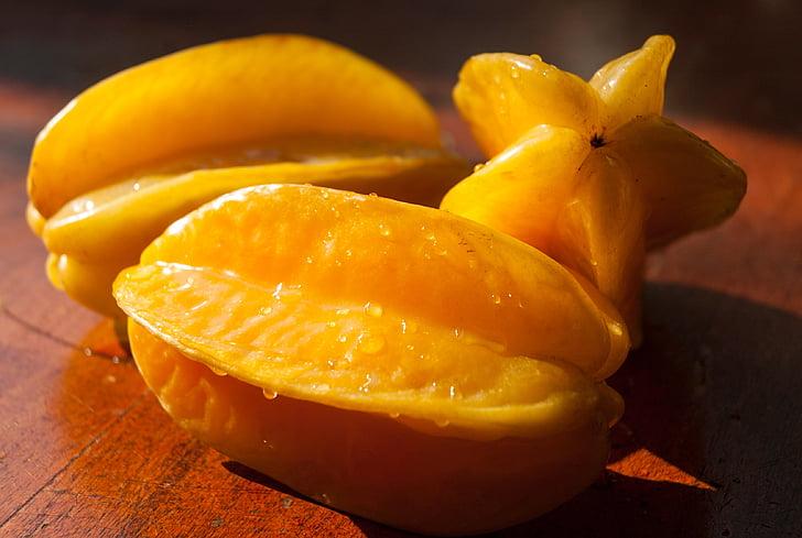 плодове звезда, плодове, жълто, храна, органични, здрави, тропически