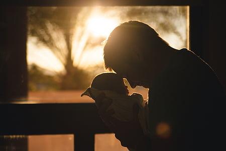 adorable, bébé, mignon, Papa, père, bonheur, vie