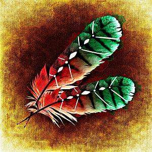 перо, птичи пера, абстрактни, перушина, цветни
