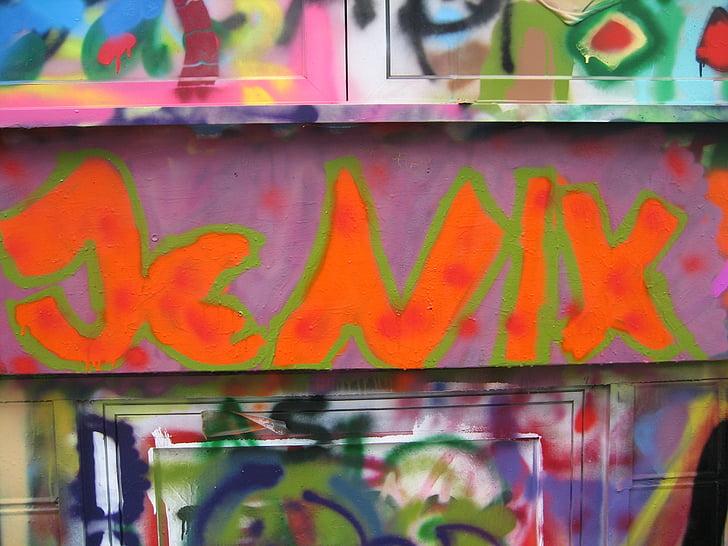 graffiti, Street art, betűtípus, spray, fal