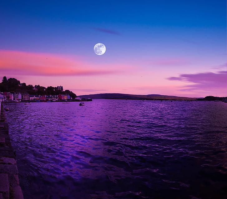 täiskuu, Šotimaa, Tobermory, Mulli saar, Dusk, Ocean, Šoti