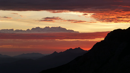 sunrise, allgäu, mountains, color, panorama, clouds, mountain silhouette