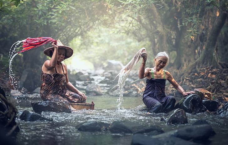 Sungai, Cuci, Asia, mandi, Kamboja, air terjun, pakaian