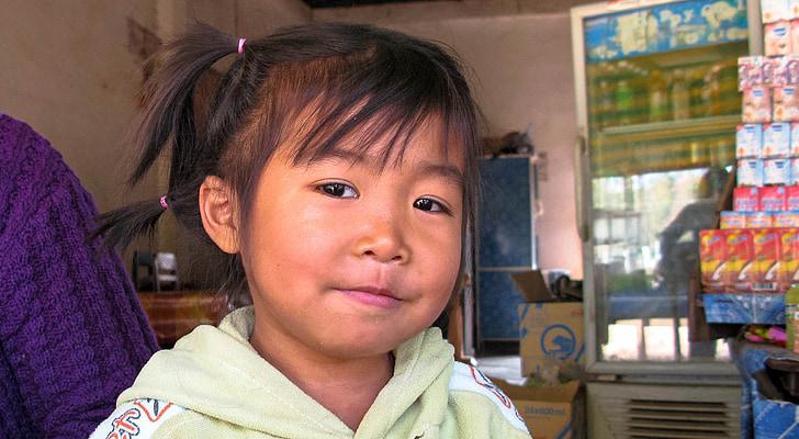 Laos, Xayabury, niño, niños, chica, Laos, Asia