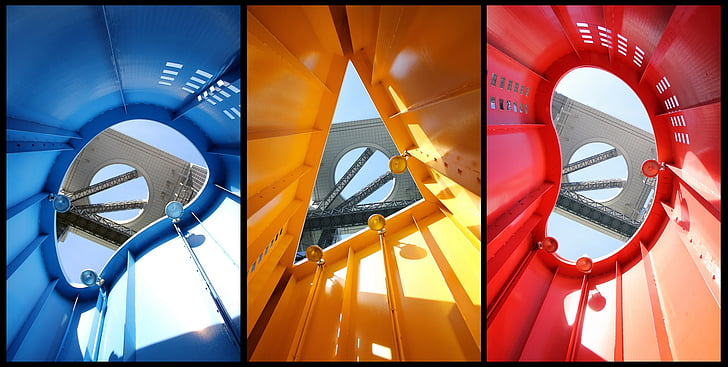 architecture, collage, building, city, colors, red yellow blue, geometry