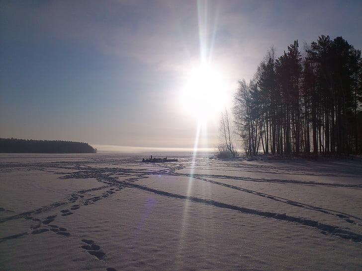 winter, sun, snow, silence, landscape, nature