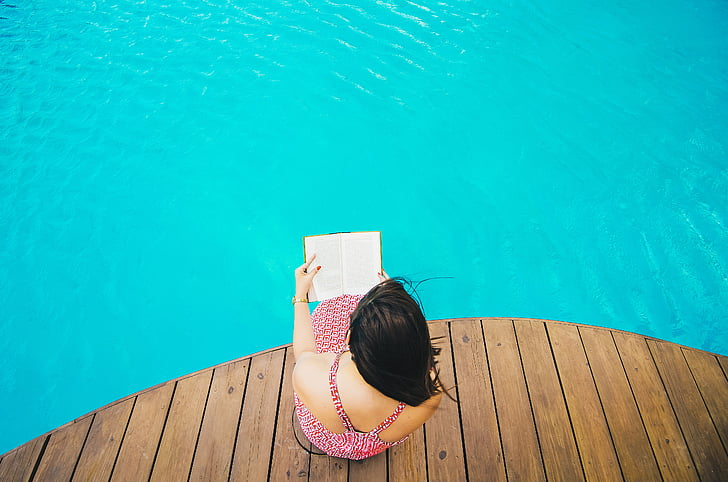swimming, pool, blue, water, wooden, people, girl