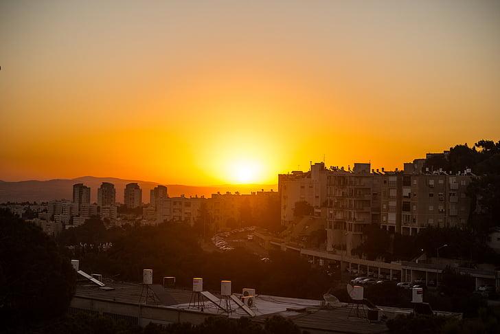 Haifa, staden, Israel, solnedgång, Sky, sommar, Urban