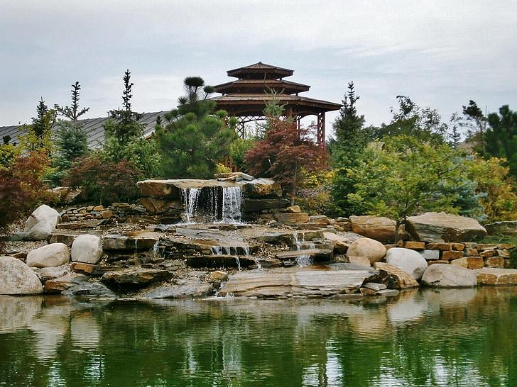 dārza, atpūta, ķīniešu dārza, lagūna, Meditācija, meditāciju dārza