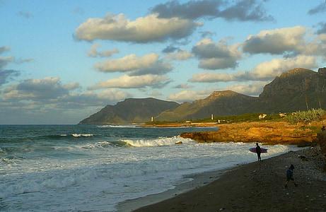 Côte, plage, mer, océan, eau, méditerranéenne, vague