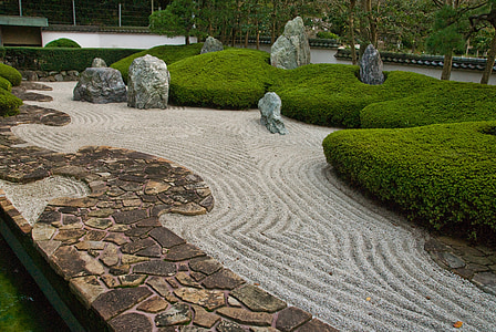 jardin, Japonais, sec, paysage, Zen, paisible, tranquil