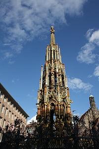 ニュルンベルク, ウィッシングウェル, 噴水, 金色, 旧市街, 宗教的です, ゴシック様式