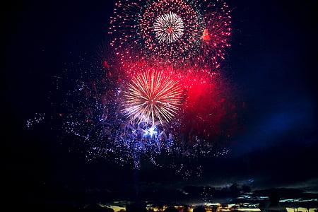 tűzijáték, tűzijáték, Chofu, színes, Hanabi, éjszaka, ünnepe