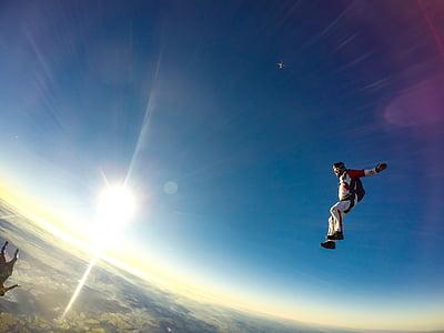 človek, nebo, potapljanje, dnevno, skok, Skakati s padalom, skoki