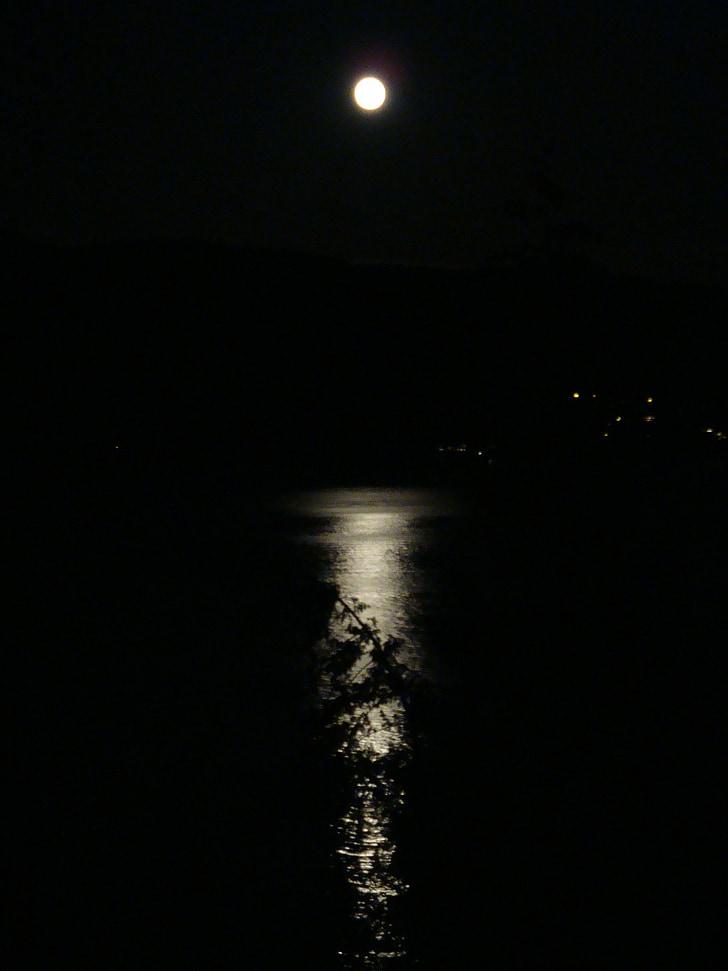 Lluna, reflexió, oceà, nit, calma, fosc, mitjanit