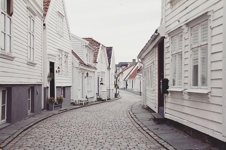 maisons, pavage de bloc de Pierre, chemin Stone, rue, maisons en bois