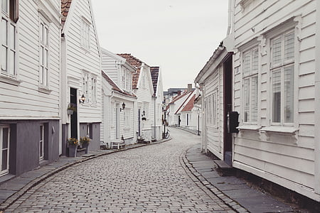 houses, stone block pavement, stone road, street, wooden houses