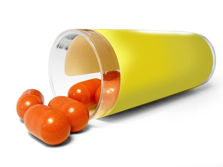 oblongo, vermelho, medicinais, pílula, verde, isolados, água