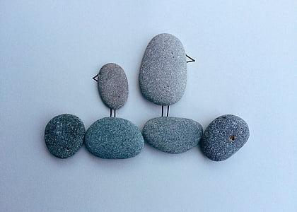 птици, плаж, крайбрежие, рок, изкуство, декорация