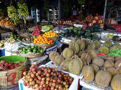 mercat, verdures, fruita, exòtiques, colors