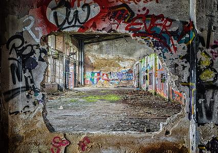 elveszett helyek, fal, pforphoto, graffiti, zsíros, Street art, hangulat