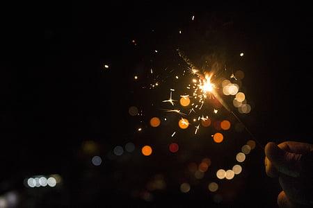 bokeh, fosc, llums, llums de Bengala, nit, il·luminat, no hi ha persones