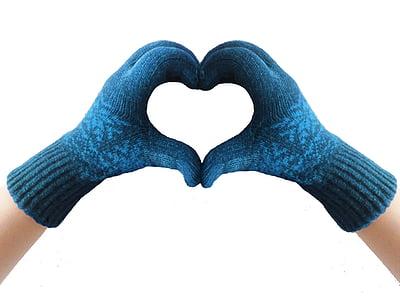 gloves, heart, blue, winter, knit, love, heart Shape