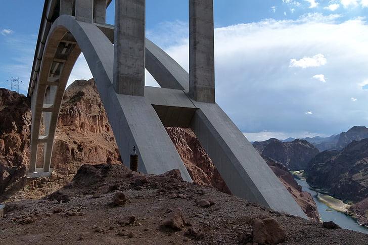 Bridge, span, bê tông, xây dựng, xây dựng, đường, Lake mead