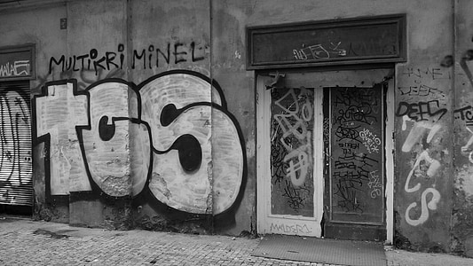 graffiti, Street art, régi, ház, bejárat, utca, piszkos