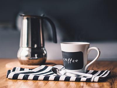 drank, koffie, Beker, drankje, hete, Mok, lepel