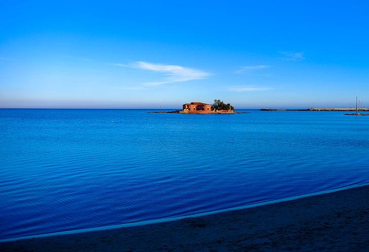 beach, blue, house, island, ocean, sea, seaside