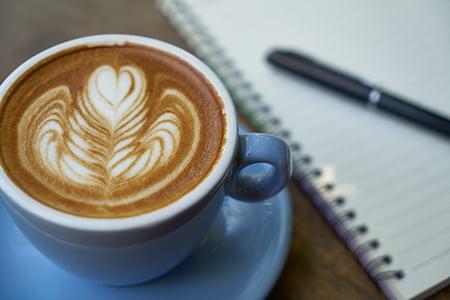 cafè, ploma, Llibreta, cafeïna, treball, Copa, cafè exprés