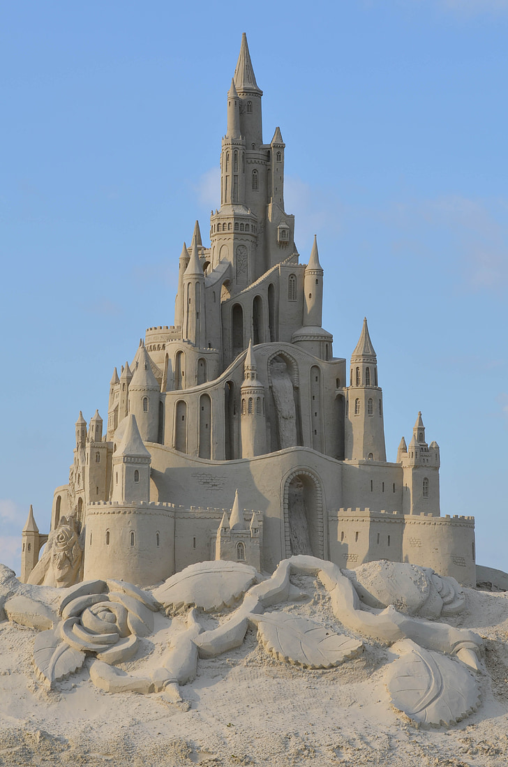 sand sculpture, structures of sand, tales from sand, fairytales sand sculpture, castle, sand castle, architecture