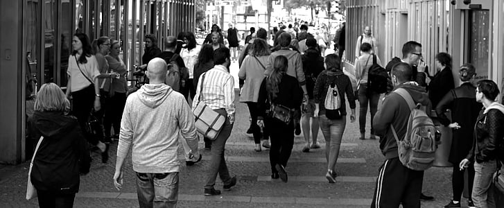 crowd, pedestrians, people, walking, black And White, urban Scene