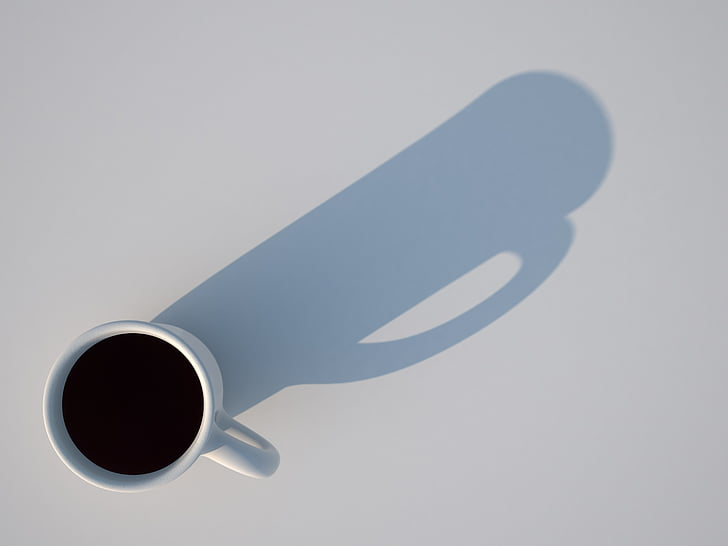 cup, shadow, 3d, rendering, visualization, directly above, studio shot