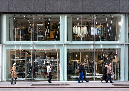 six, person, waking, beside, store, DKNY, shopping