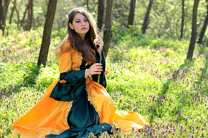 girl, princess, forest, spring, story, nice, women