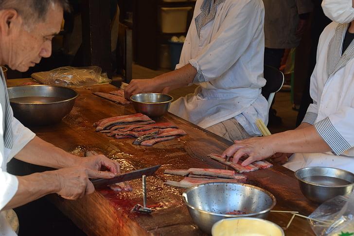 przygotowaniu węgorza, jedzenie, kuchnia, Japoński