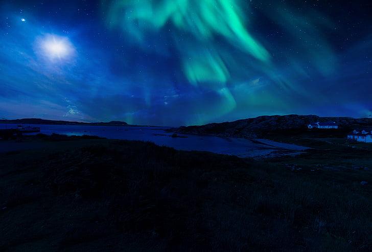 Šotimaa, Aurora, Põhja-, tuled, öö, taevas, tähed