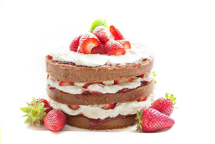 cake, bake, chocolate, strawberry, cream, sweet, decoration