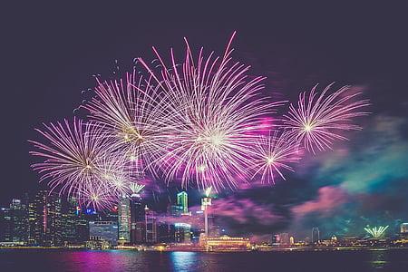 tűzijáték, lila, város, ünnepe, víz, elmélkedés, ünnepi