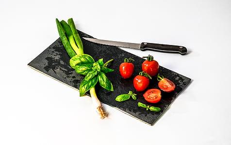 食材, 食品, クック, トマト, ナイフ, まな板, 野菜