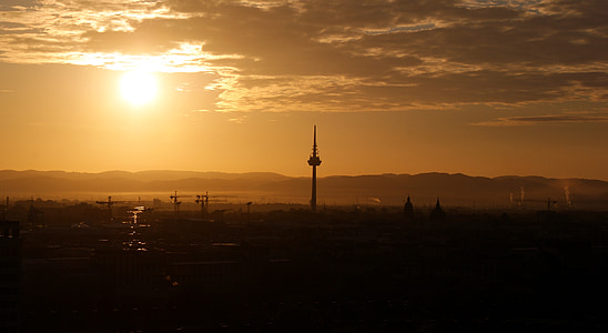morgenstimmung, Alba, cels, paisatge, matí, Mannheim