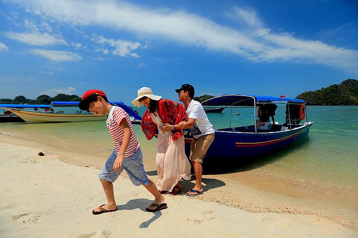 beach, family, langkawi, malaysia