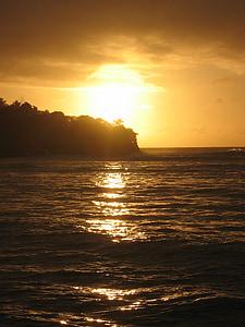 일몰, 바다, 물, 태양, 로맨틱, 로맨스, abendstimmung