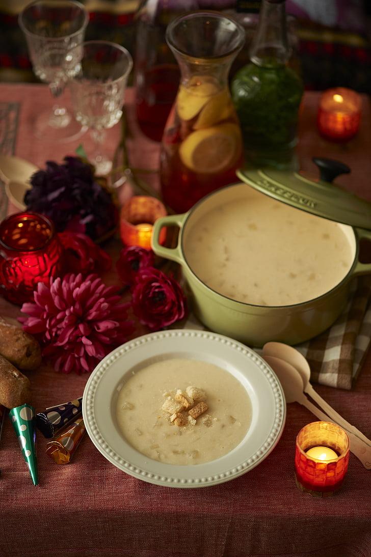 miski, krem, jedzenie, domowej roboty, sok, Zupa, łyżka
