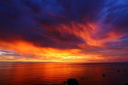 พระอาทิตย์ตก, มหาสมุทรแปซิฟิก, ตอนเย็น, ระบบคลาวด์, รูปแบบ, บรรยากาศ, ขอบฟ้า
